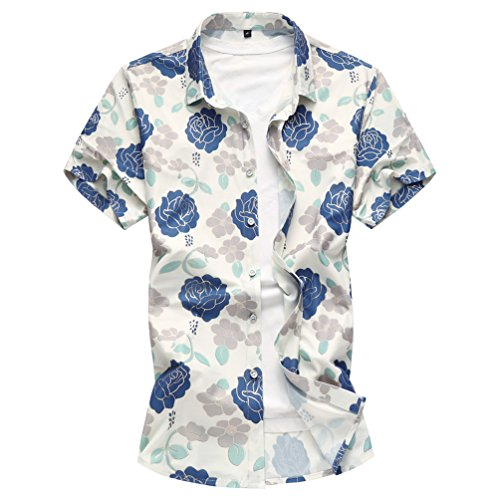 WanYangg Herren Hemd Hawaiihemd Kurzarm Strandhemd Aloha Shirt Kurzarm Button Down Urlaub Freizeit Bunte Hemden Blumen Drucken Hemd Sommer Funky Hawaii-Print Casual Surf ShirtsWeiß&Blau M (Surf-hawaii-aloha-shirt)