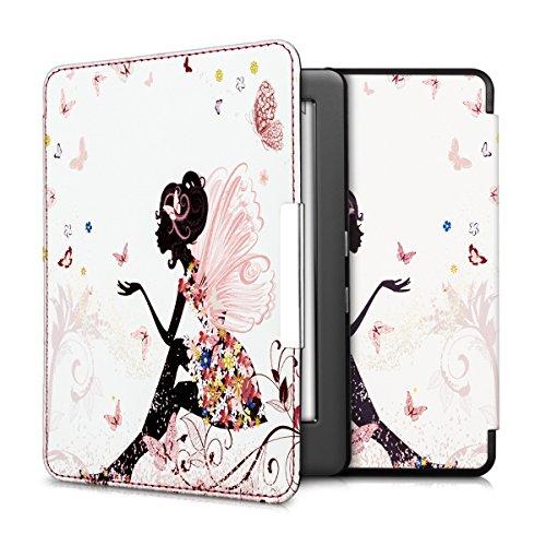 kwmobile Housse élégante en cuir synthétique pour Kobo Glo HD (N437)/Touch 2.0 en Design Fée papillon multicolore fuchsia blanc
