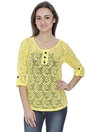 SVT ADA COLLECTIONS Poly NET Yellow Designer TOP (11708_Yellow_Medium)