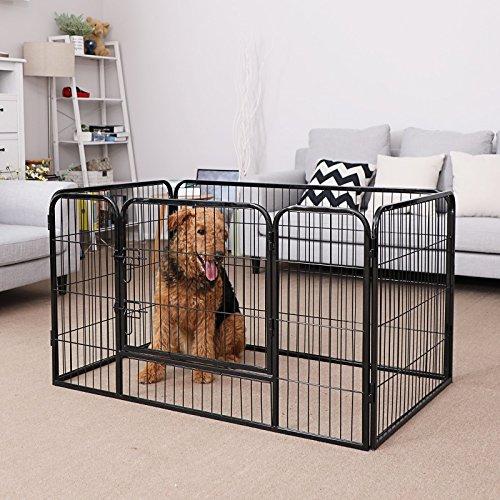 Songmics Welpenauslauf für Hunde Kaninchen kleine Haustiere 122 x 70 x 80 cm schwarz PPK74H - 2