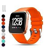 Feskio pour Fitbit Versa de remplacement Sangles de poignet, Classic réglable souple en silicone Sport Bracelet Sangle Bracelect pour Fitbit Versa Smartwatch, grand/petit petit Orange