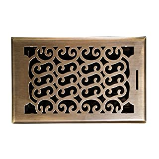 Accord AMFRABC610 Charleston Floor Register, 6-Inch x 10-Inch(Duct Opening Measurements), Antique Brass