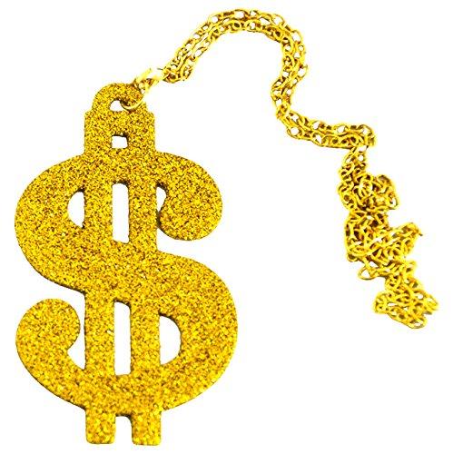 Aptafêtes–ac0164Halskette Dollar (Metall 80er Kostüm Jahre)