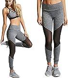 Damen Plain Mesh Patchwork Yoga Hose, Siswong Transparent Hohe Taille Sport Fitness Running Jogging Dehnbar Cropped Leggings (S, Grey)