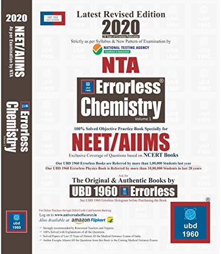UBD 1960 Errorless Chemistry for NEET/AIIMS Latest 2020 Edition as per Examination by NTA ( Set of 2 Volume)