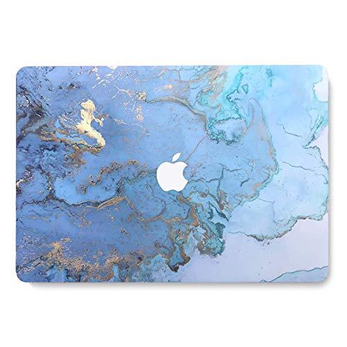 AQYLQ MacBook Pro 13 Hülle 2018 2017 2016 Release A1989/A1706/A1708, Hartschalenkoffer aus mattem Kunststoff Kompatibel Mac Pro 13 Zoll - Farbiger Blauer Marmor LDL41
