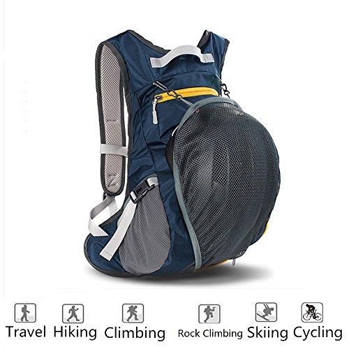 Maleden Wanderrucksack, wasserfest, für Outdoor-Aktivitäten, Sport, Radfahren, Skifahren, Klettern und Reisen, mit Helm- & Flaschenhalter Dunkelblau