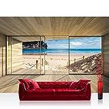 Fototapete 254x184 cm PREMIUM Wand Foto Tapete Wand Bild Papiertapete - Holz Tapete Holzoptik Rahmen Fenster Meer Strand Himmel beige - no. 2538
