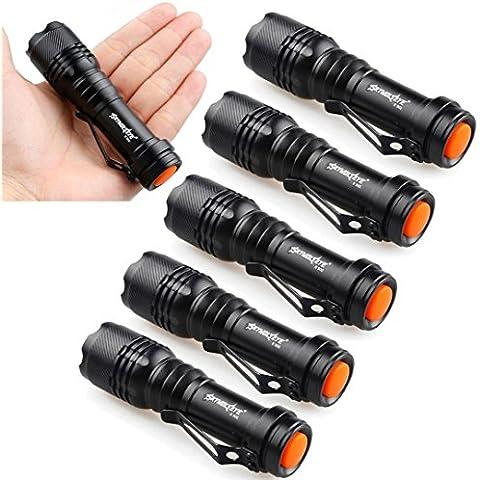 6X mini torcia elettrica, Fe ITO NGC Re EQ5 7W 1200LM LED lampada torcia fuoco regolabile luce zoom