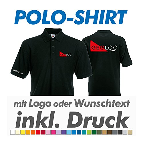 Polo Shirt, schwarz, Fruit of the Loom, inkl. Ihrem Wunschtext / Logo Druck Werbedruck