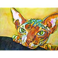 Sphynx Katze - handgemaltes Originalbild, Katzenbild