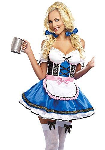 BOZEVON Frauen Dirndl Kleider Halloween Oktoberfest Parteien Kostüm Bar Arbeitskleidung Dienstmädchen Uniform Cosplay Outfit Naughty Sexy Kleid (Bar Dienstmädchen Kostüm)