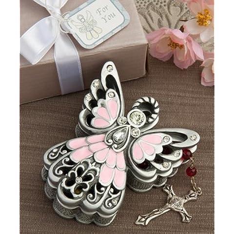 Pewter Color ANGEL TRINKET BOX - BABY Gift CHRISTENING Boy Girl KEEPSAKE Memento (Pink/Pewter Color - GIRL) by FC