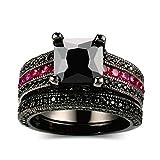 Beydodo Schwarzring Vergoldet Ring für Damen Prinzessschliff Zirkonia Trauring Partner Schwarz Ringe Größe 49 (15.6)