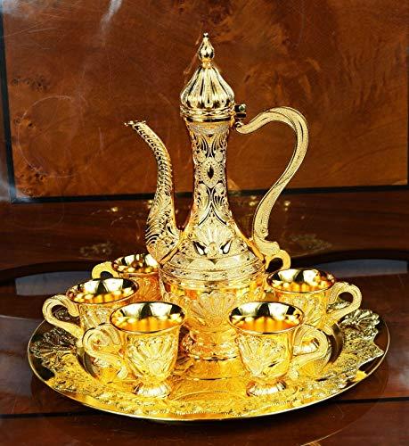 Value For Money Juego de 6 Tazas y 1 Jarra, 1 Bandeja, Hermoso Juego de Bebida para decoración, diseño de zam Turco Dorado Antiguo