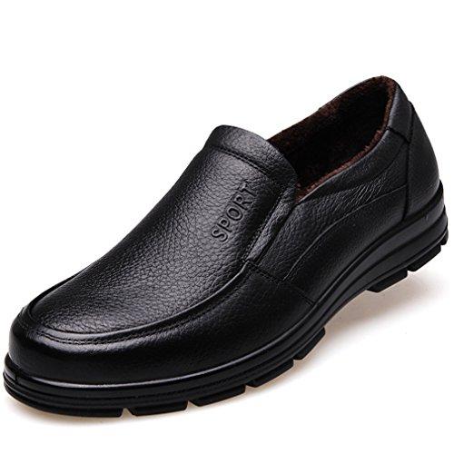Automne-hiver Soulier Hommes Mocassins Litchi Grain Laine Artificielle Chaud Antidérapant noir loafers