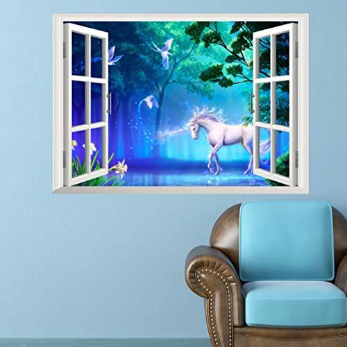 ZWXDMY Falscher Fensteraufkleber,Einhorn Shape Pferd Vögel Abnehmbare Wand Sticker 3D Fenster Effekt Wandaufklebern Tapeten Für Kinderzimmer Aufkleber PVC Wandbild Poster