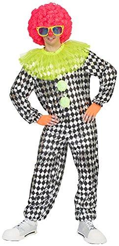 Funny Fashion Clown Kokki Kostüm für Herren - Schwarz Weiß - Lustige Pierrot Harlekin Verkleidung zum Thema Zirkus Manege