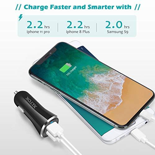 Samsung S9//S8//S7 2 Porte,Caricatore Auto USB Caricabatteria Auto USB Universale Carica Batteria Compatibile con Huawei,Honor XLTOK Caricabatteria Auto USB Nero 24W//4.8A
