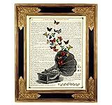 Grammophon Schmetterlinge Musik Poster Kunstdruck auf antiker Buchseite Plattenspieler Geschenk Bild ungerahmt