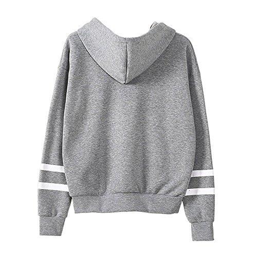 Landove Damen Herbst Winter Hoodie Sweatshirt Langarm Kapuzenpullis Jumper Mit Kapuze Pullover Casual T-Shirt Tops Grau