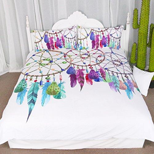 kingtex 3Stück Edelstein Traumfänger Bettbezug Set Chic Aquarell Dreamcatcher Federn Muster Quilt Tagesdecke Bettwäsche Tröster Cover, Polyester-Mischgewebe, As Figure, Twin -