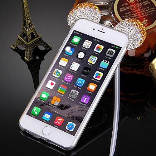 Phone case & Hülle Für iPhone 6 / 6s, Maus Ohr Diamant Muster Transparent TPU Schutzhülle mit Lanyard & Spiegel ( Color : Magenta ) Gold