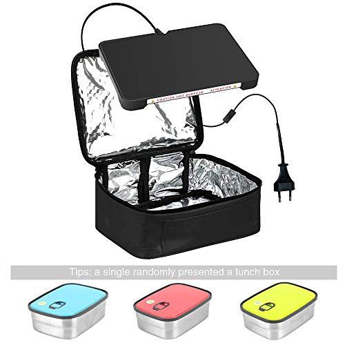 YIBOSS MINI Tragbarer Ofen Persönliche Mikrowelle mit Rostfreier Stahl Mittagessen Behälter Mittagessen Tasche schwarz (Edelstahl Konvektion Mikrowelle)