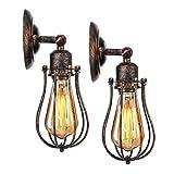 KINGSO 2er Pack Wandlampe E27 Rotbraun 230V Vintage Edison Wandleuchte Metall industrial Lampenschirm Rustikal für Schlafzimmer Wohnzimmer Esstisch (Leuchtmittel nicht inklusiv)