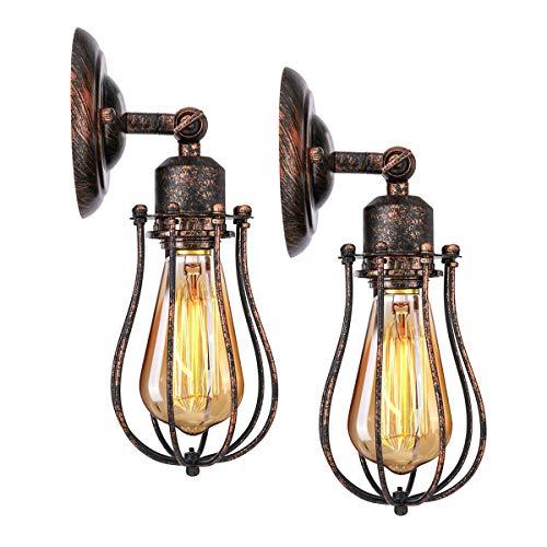 KINGSO 2er Pack Wandlampe Vintage E27 Wandleuchte rustikal Deckenleuchte vintage wandleuchte innen Industrial Metall Lampenschirm schwenkbar für Schlafzimmer Wohnzimmer Esstisch(Ohne Leuchtmittel) -