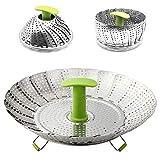 Steamer Basket,HanDingSM Stainless Steel Vegetable Steamer Basket Collapsible Steamer with Extendable Anti-hot Handle