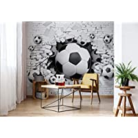 Football Through The Wall - Photo Wallpaper - Wall Mural - Giant Wall Poster - XXL - 368cm x 254cm - Standard Paper (NOT EasyInstall) - 4 Pieces