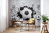 Wallsticker Warehouse Fußball Durch Die Mauer Fototapete - Tapete - Fotomural - Mural Wandbild - (3383WM) - XXXL - 416cm x 254cm - VLIES (EasyInstall) - 4 Pieces