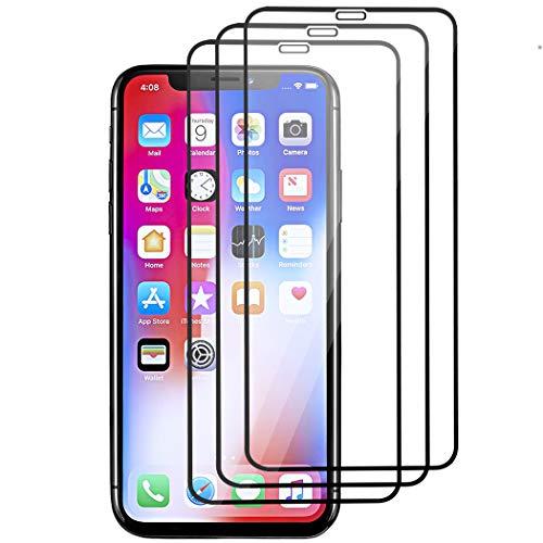 JDHDL Displayschutzfolie für iPhone XS Max [16,5 Zoll] (2018) gehärtetes Glas, Kratzfest, HD klare Lichtdurchlässigkeit, kompatibel mit 9H Härte, Sensitive Response, volle Abdeckung, Black 3Pack Portion Case Pack