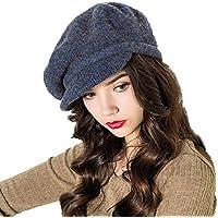 QUJH Gorros Mujer Sombreros De Boina para Mujer Gorra De Invierno Sombrero  De Boinas Azul Marino 7c727582ae6