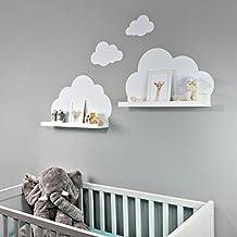 Wandtattoo Wolken In Weis Fur Ikea Regalbrett Ribba Mosslanda  Cm Bilderleiste Fur Babyzimmer Kinderzimmer
