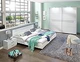 lifestyle4living 4-TLG. Schlafzimmerkombination, Schlafzimmermöbel, Schlafzimmereinrichtung, Komplett-Set, Kleiderschrank, Bett, Nachtschrank, alpinweiß, Glas, Chrom