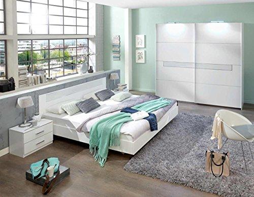 lifestyle4living 4-TLG. Schlafzimmerkombination, Schlafzimmermöbel, Schlafzimmereinrichtung, Komplett-Set, Kleiderschrank, Bett, Nachtschrank, alpinweiß,