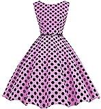 Bbonlinedress 50s Retro Schwingen Vintage Rockabilly kleid Faltenrock Pink Black Big Dot XL