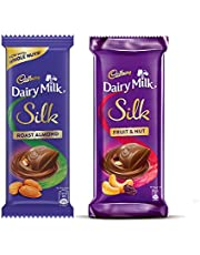 Cadbury Dairy Milk Silk Large Chocolates Combo (Silk Fruit & Nut 137g, Silk Roast Almond 143g), 280 g