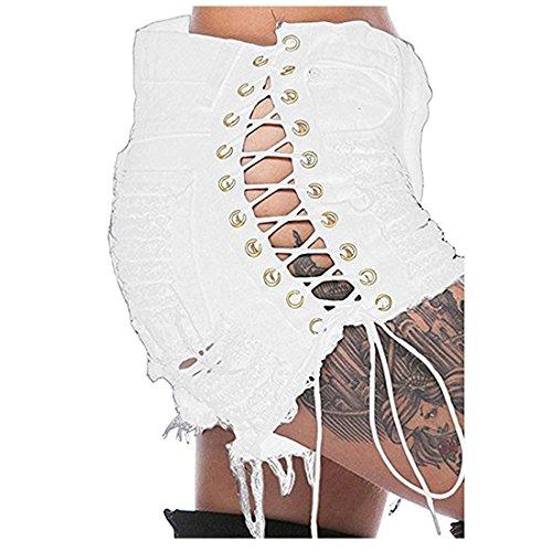 Inlefen pantaloncini di jeans strappati sexy delle signore delle donne corte con i pantaloni corti casuali della vita media di modo della nappa con le tasche s