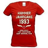 Soreso Design Damen Frauen Shirt 25. Geburtstag Geburtstagsgeschenk Hammer Jahrgang 1993 Mädchen,Girls,Freundin, Tante,Tochter Farbe: Rot Gr: XXL