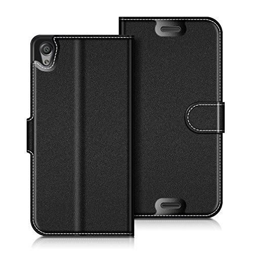 Coodio Sony Xperia X Hülle Leder Lederhülle Ledertasche Wallet Handyhülle Tasche Schutzhülle mit Magnetverschluss / Kartenfächer für Sony Xperia X, Schwarz