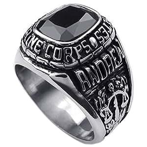 KONOV Schmuck Biker Herren-Ring, Edelstahl Zirkonia Diamant, USMC Siegelring, Schwarz Silber - Gr. 57