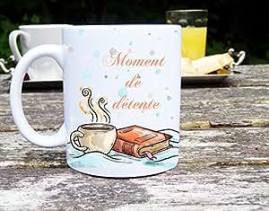Mug moment de détente, idée cadeau mug personnalisé, pause café et livre