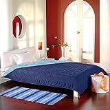 Brandsseller Tagesdecke Bettüberwurf Steppdecke zweiseitige Multifunktionsdecke XXL - 220x240 cm - Dunkelblau/Hellblau