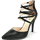 Alexis Leroy Women Sparky Studded Closed Toe Strappy Court Shoes For Party Wedding Black 7 UK / 40 EU