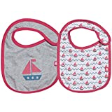 Nino Bambino 100% Pure Organic Cotton Soft Printed Pink And Grey Bibs For Baby Girl (Pack Of Two)