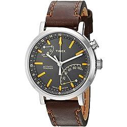 Timex Metropolitan + Bluetooth Brown, Brushed steel, Grey, Orange Sport Watch–Sport reloj (Brown, Brushed steel, Grey, Orange, Stainless Steel, Water resistant, Leather, Mineral, Glass)