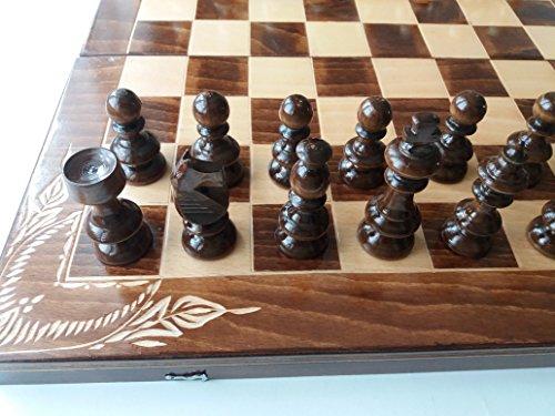 Neu groß handarbeit Holz Schachspiel, hazel Holz handwerk Schachfiguren,Buchen Holz Blume handgeschnitzte Schachbrett Kasten, Brettspiele, Backgammon, Dame, Spaß Spielzeug, pädagogisches Spiel